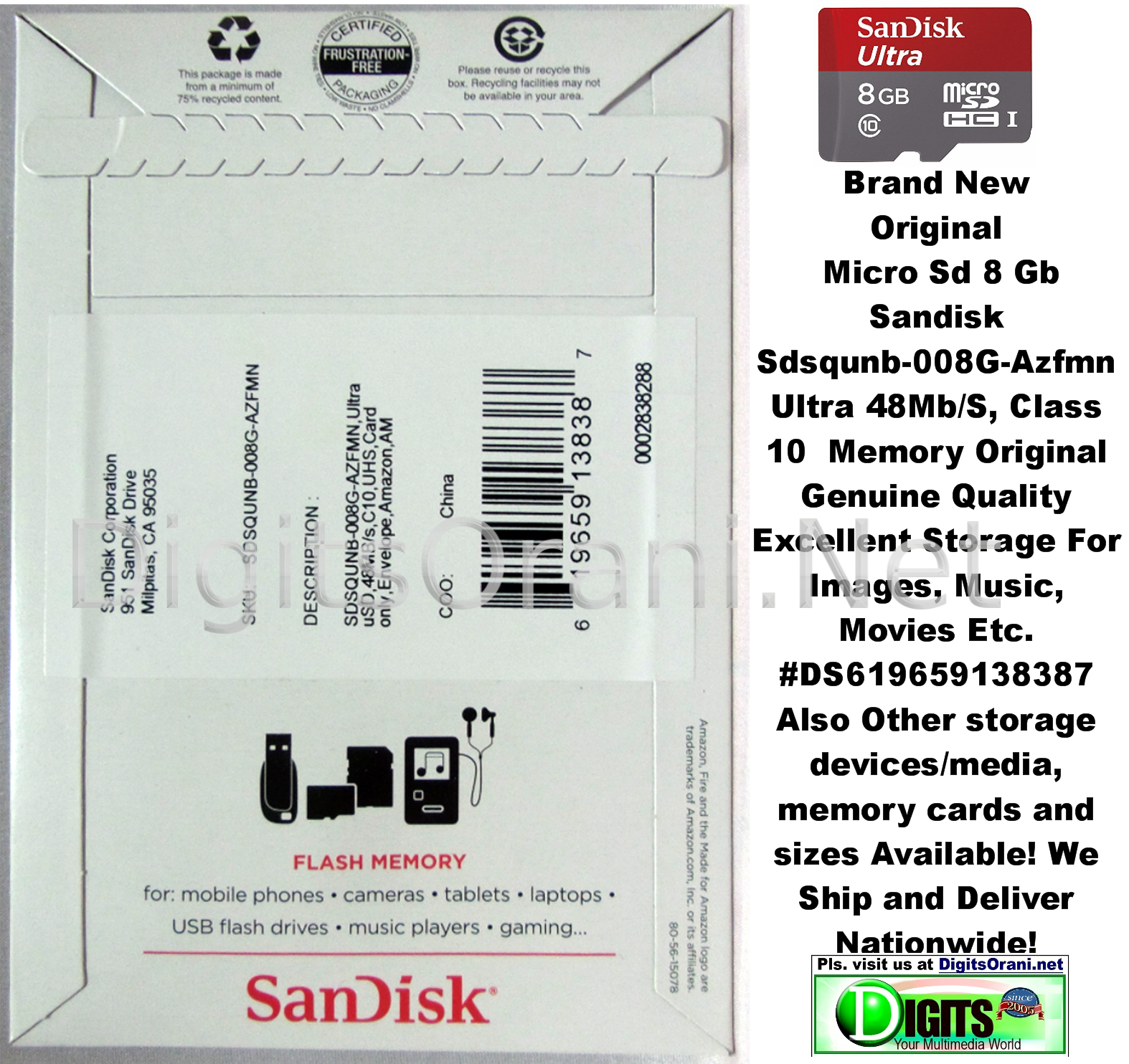 Original Micro Sd 8gb Sandisk Sdsqunb 008g Azfmn Ultra One Yr Uhs 1 Class 10 48 Mb S 32gb Touch To Zoom