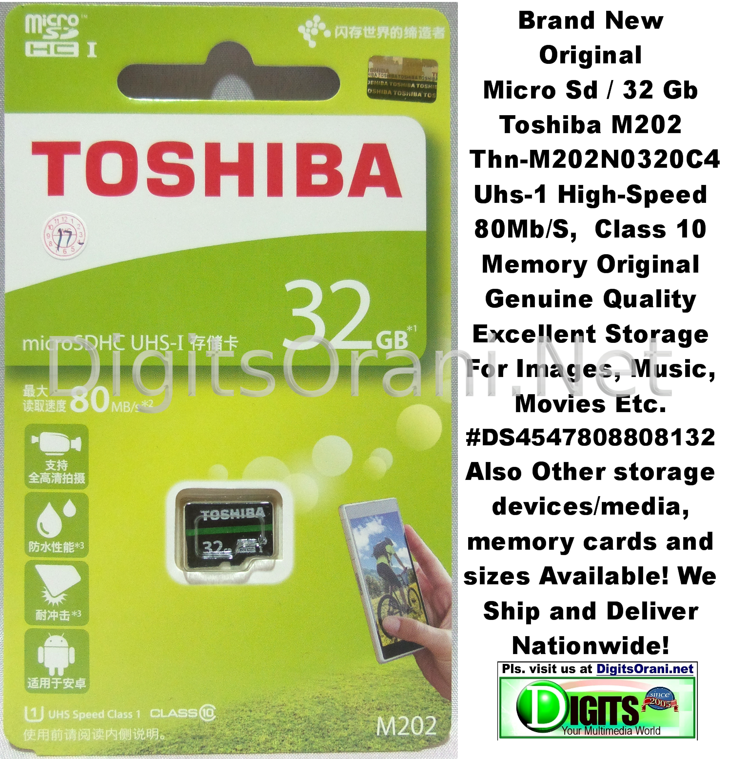 Original Memory Micro Sd 32gb Toshiba M202 Thn M202n0320c4 Uhs 1 Sandisk Ultra 32 Gb Class 10 80mb S Adapter Touch To Zoom