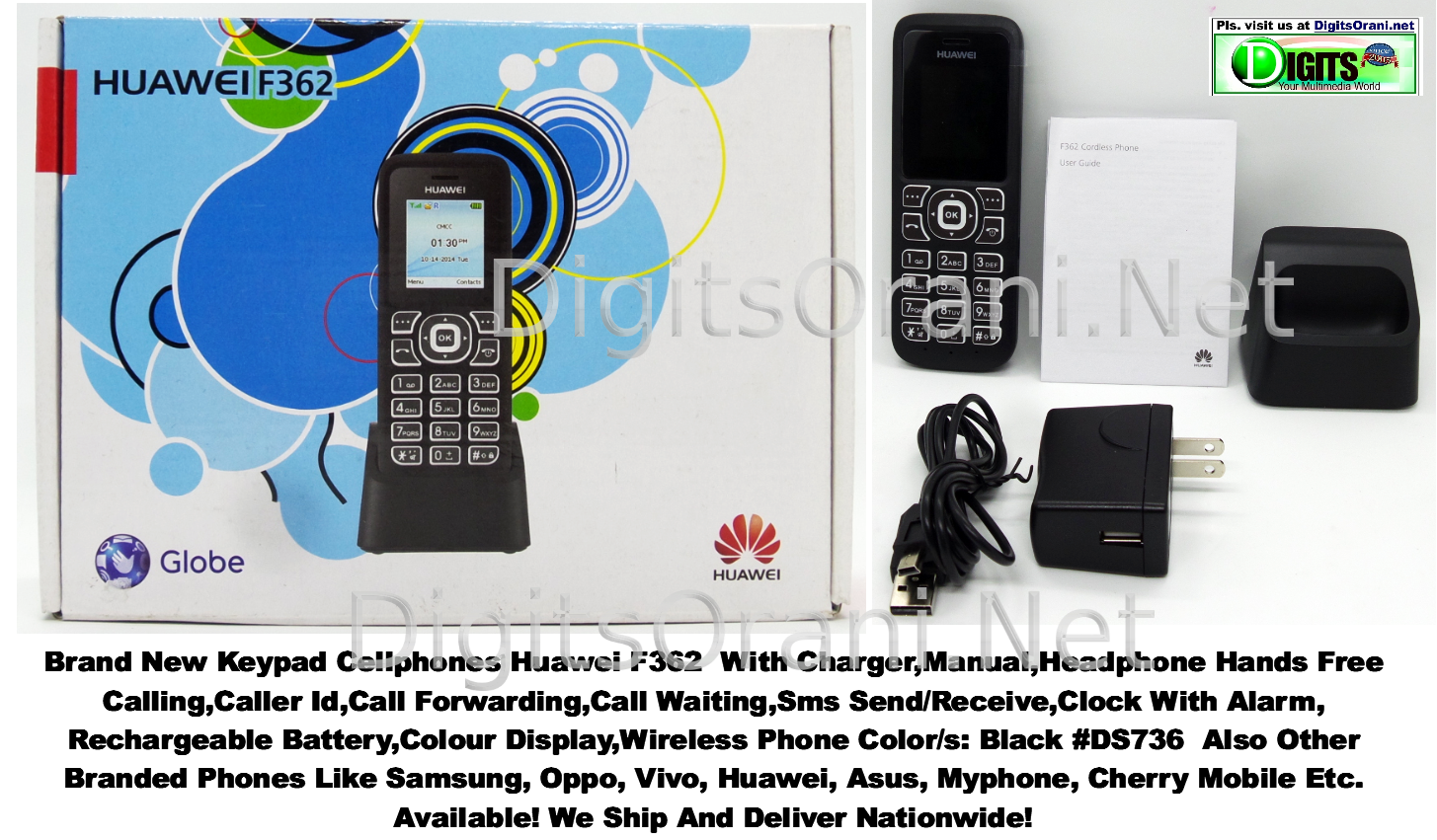 Original Keypad Cellphone Huawei F362 Hands Free Calling,Caller Id,Call  Forwarding,Call Waiting,Sms Send/Receive,Clock With Alarm,Rechargeable