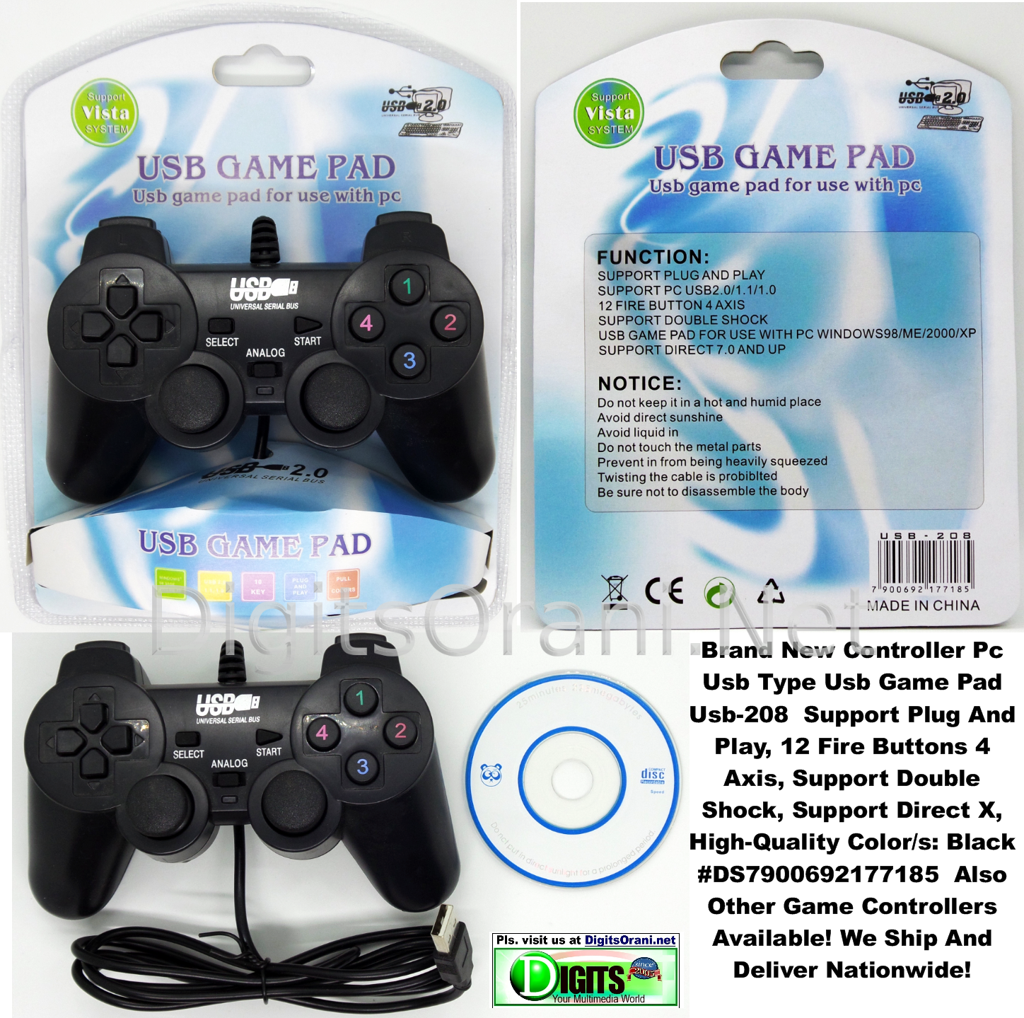 PC Game Controller Usb Game Pad Usb-208 Support Plug And Play, 12 Fire  Buttons 4 Axis, Support Double Shock, Support Direct X, High-Quality