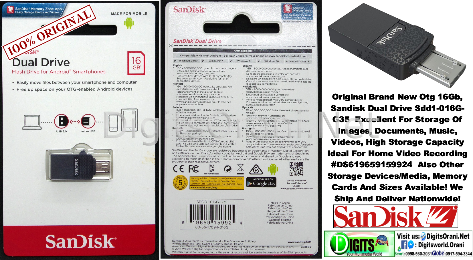 Original Otg Sandisk Dual Drive Sdd1 016g G35 Excellent For Storage 16gb Ultra Usb 30 100 Touch To Zoom