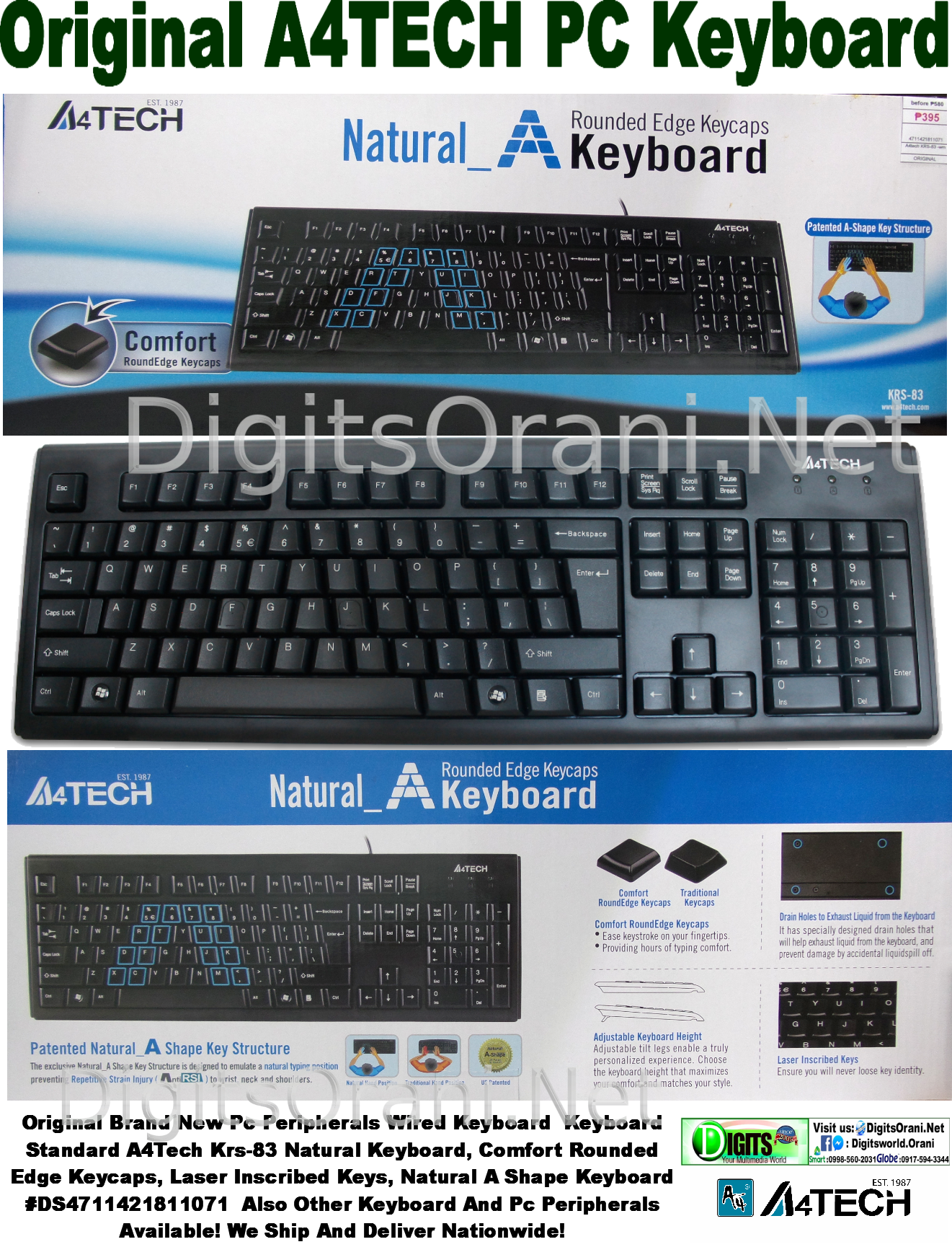 Original Usb Type Keyboard A4Tech Krs-83 A-Shape, Spill Resistand, Natural  Keyboard, Comfort Rounded Edge Keycaps, Laser Inscribed Keys, Genuine