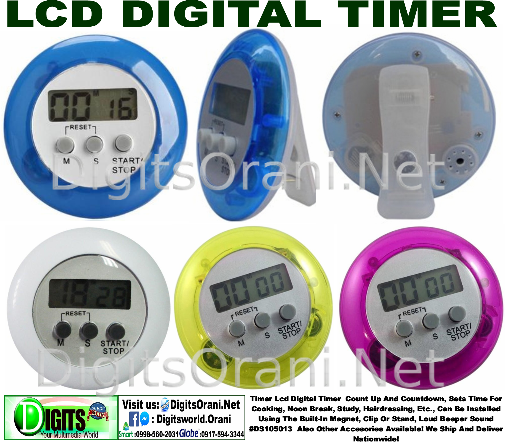 Timer Lcd Digital Count Up And Countdown Sets Time For Beeper Sound Cooking Noon Break Study Hairdressing Etc Can Be Installed Using The Built In Magnet Clip Or Stand Loud Ds105013