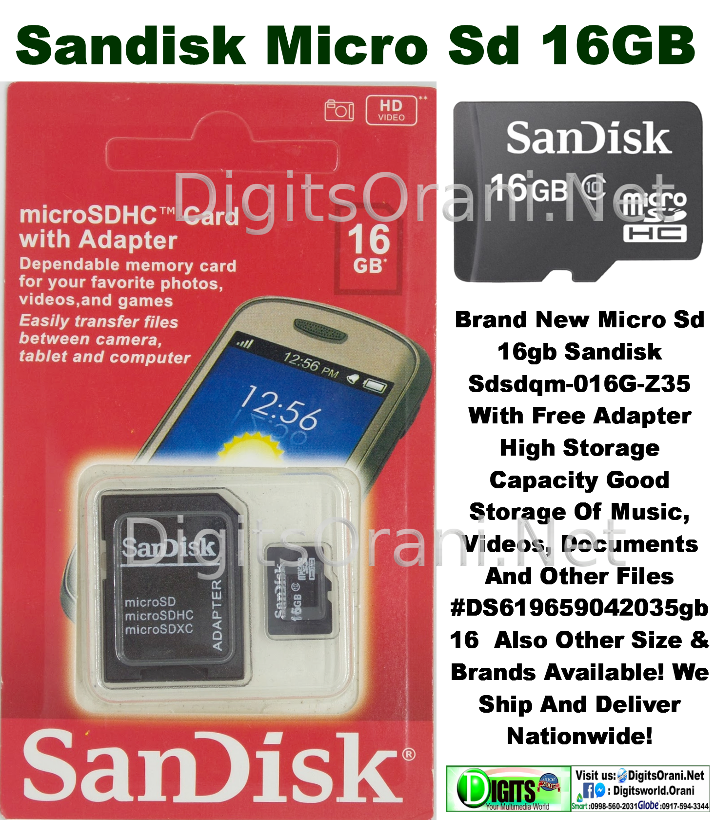 Microsd 16gb Sandisk Sdsdqm 016g Z35 With Free Adapter High Storage 4gb Touch To Zoom