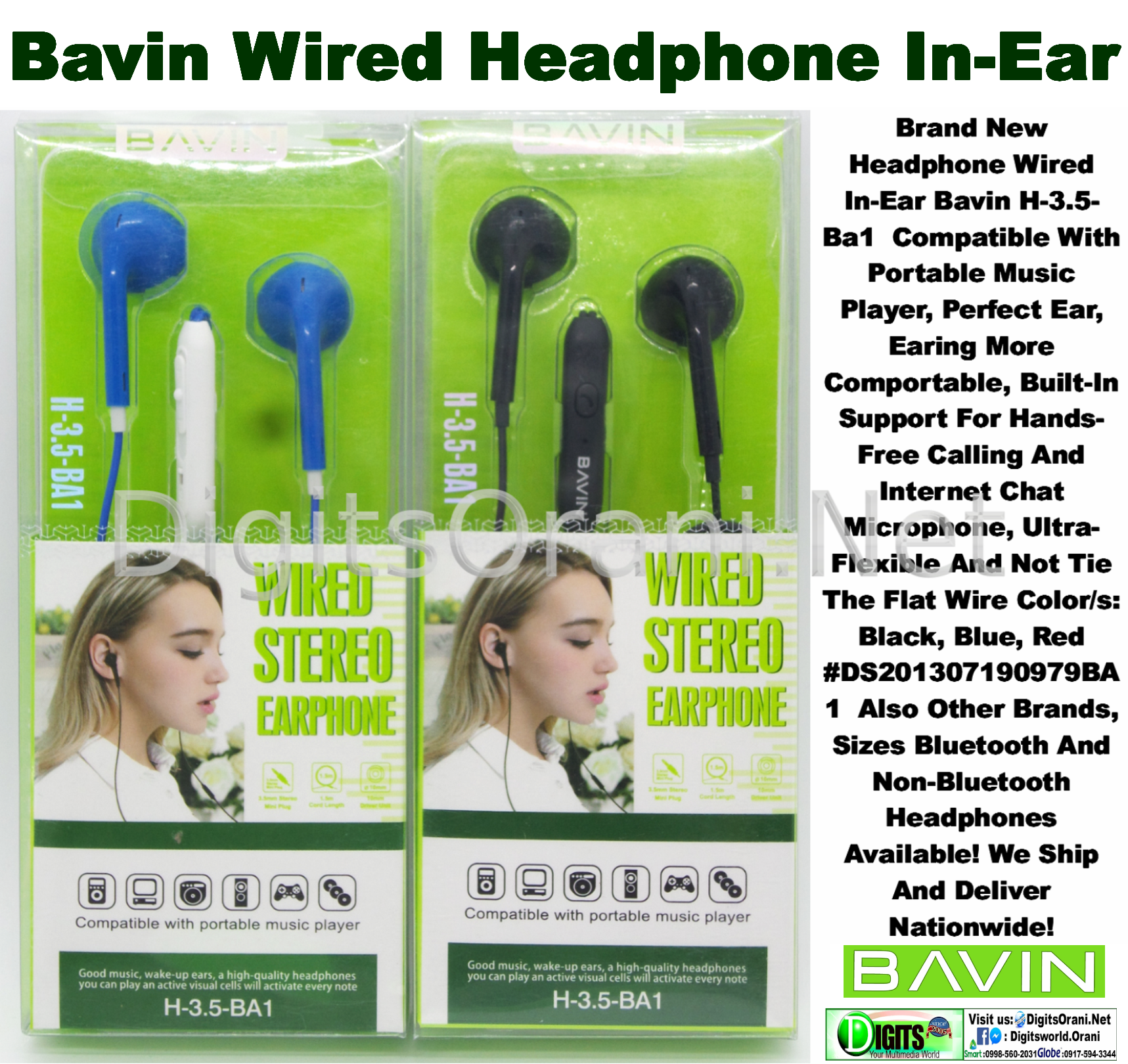 Original Headphone In-Ear Bavin H-3 5-Ba1 Compatible With Portable Music  Player, Perfect Ear, Earing More Comportable, Built-In Support For  Hands-Free