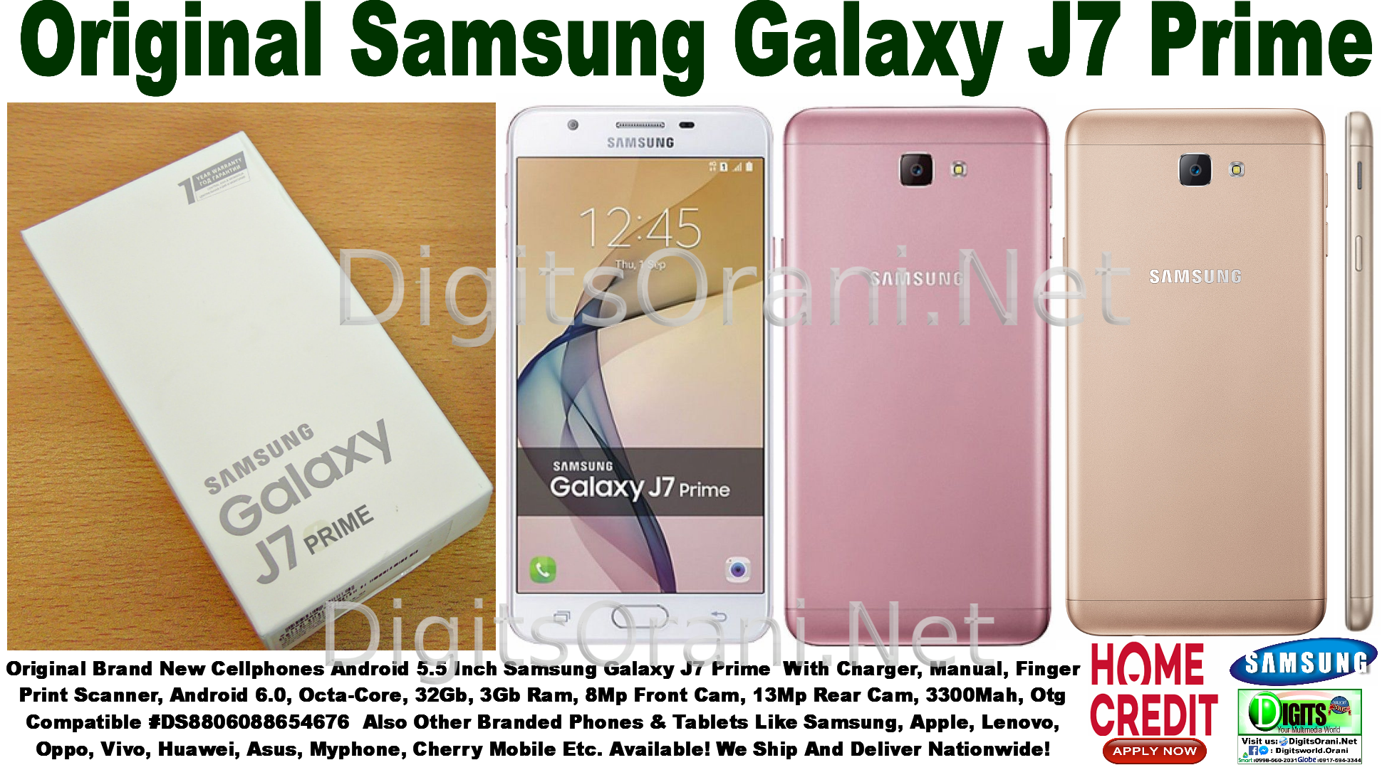 Original Android Samsung Galaxy J7 Prime With Charger Manual Touch To Zoom