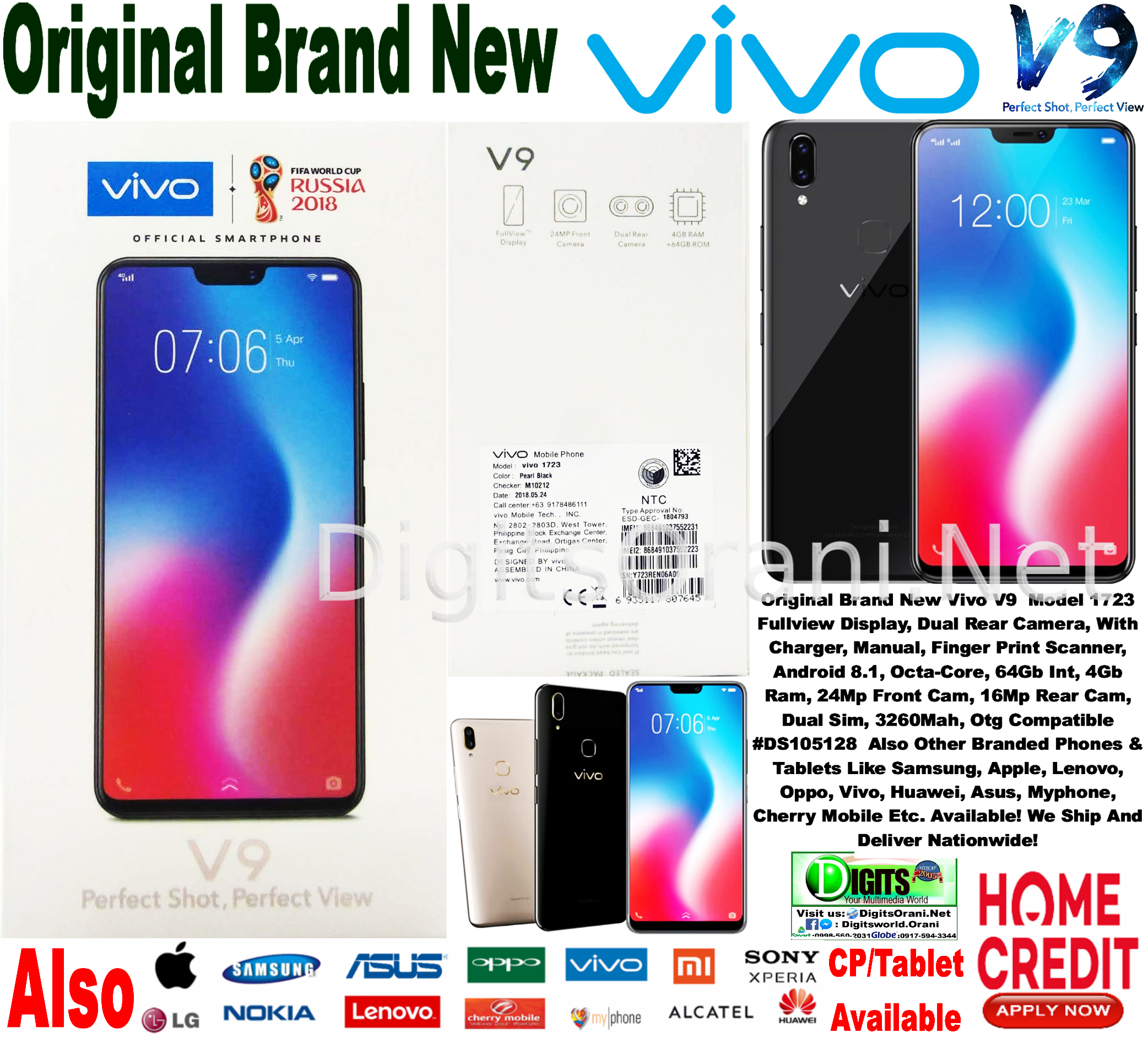 Original Android Cellphone 64Gb Int , 4Gb Ram, 6 3 Inch, Vivo V9 Model 1723  Fullview Display, Dual Rear Camera, With Charger, Manual, Finger Print