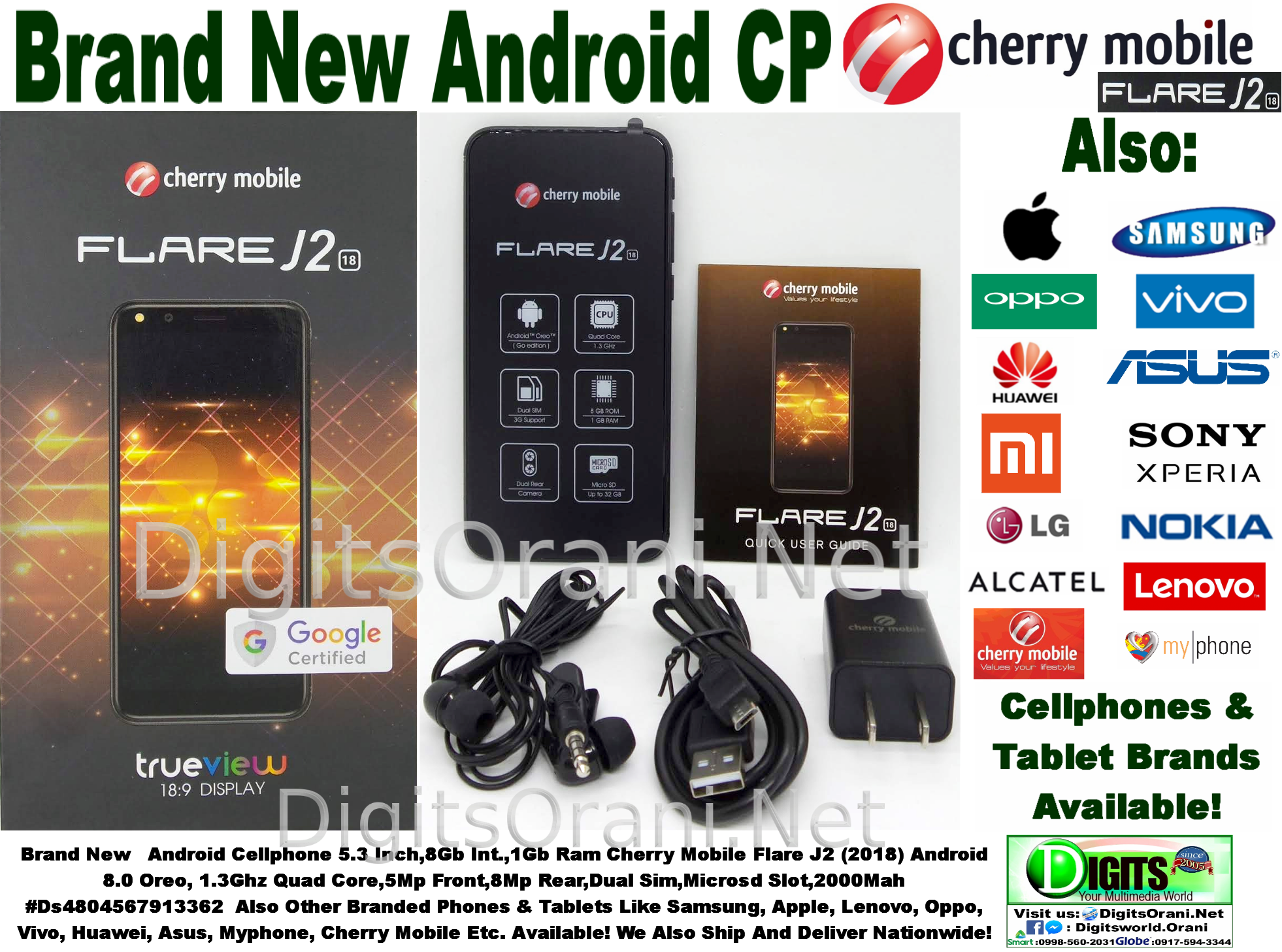 Android Cellphone 5 3 Inch,8Gb Int ,1Gb Ram Cherry Mobile Flare J2 (2018)  Android 8 0 Oreo, 1 3Ghz Quad Core,5Mp Front,8Mp Rear,Dual Sim,Microsd