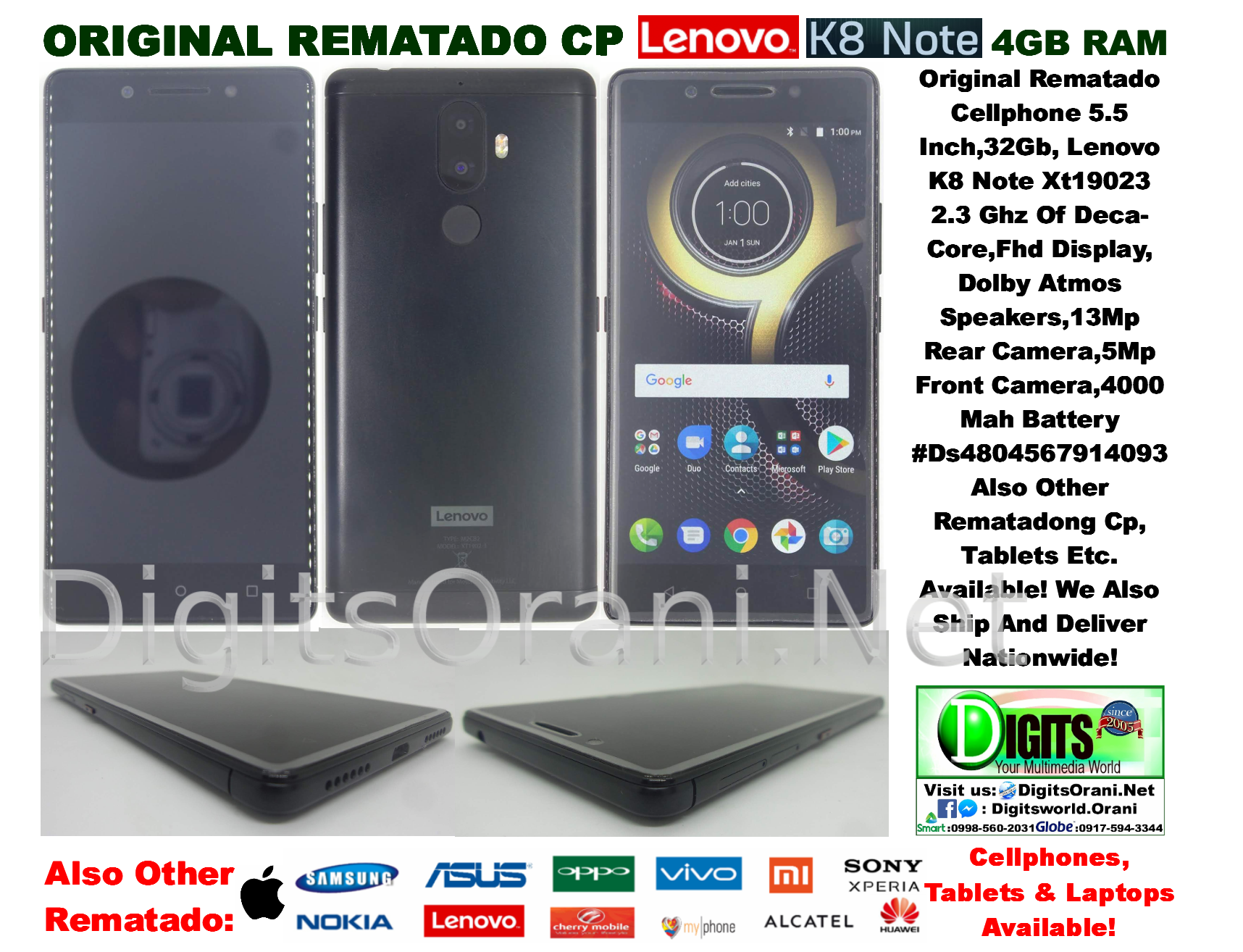 Original Rematado Cellphone 5 5 Inch,32Gb,4Gb Ram Lenovo K8 Note Xt19023  2 3 Ghz Of Deca-Core,Fhd Display,Dolby Atmos Speakers,13Mp Rear Camera,5Mp