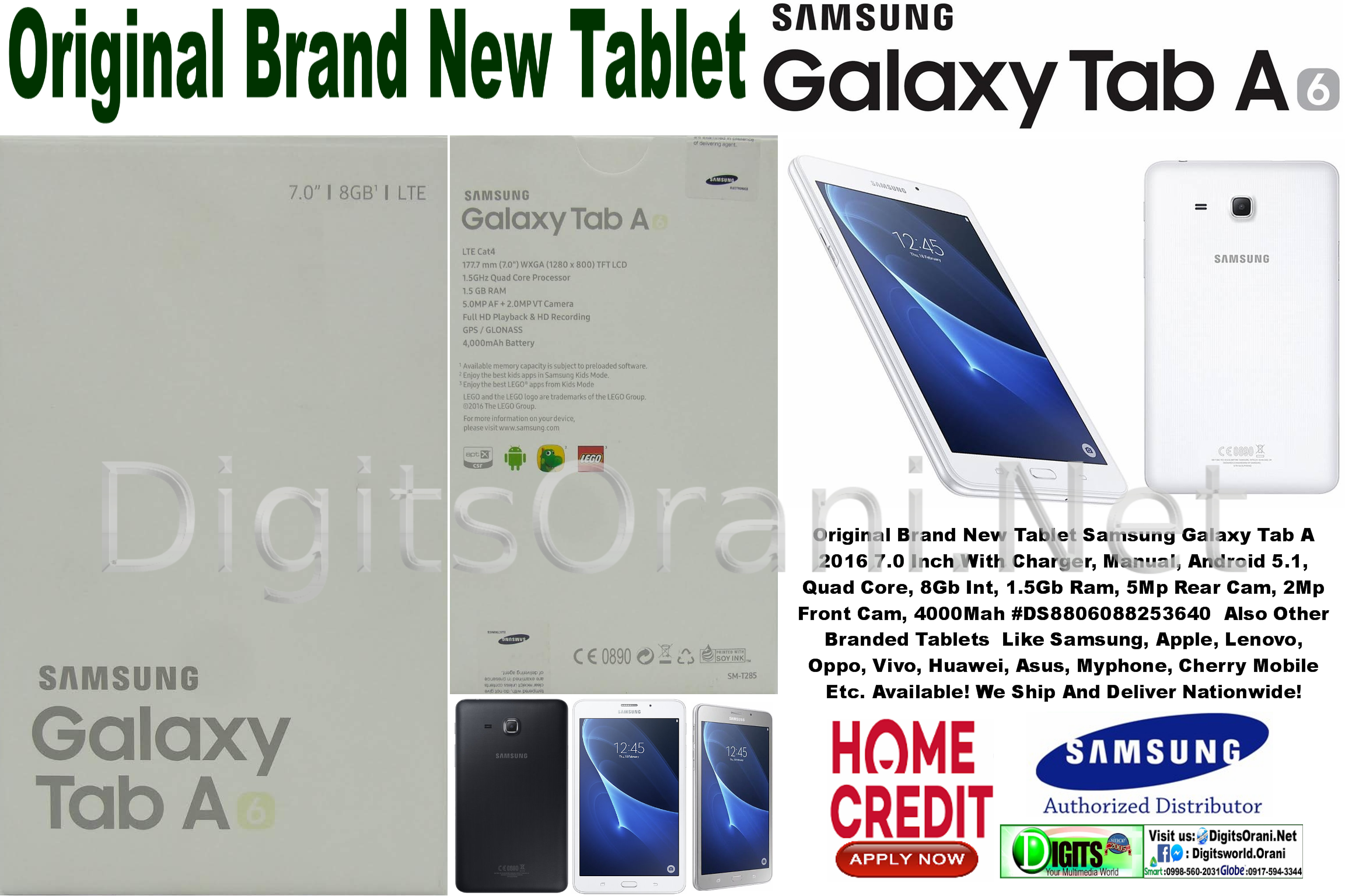 Original Tablet Samsung Galaxy Tab A 2016 With Charger, Manual, Android  5 1, Quad Core, 8Gb Int, 1 5Gb Ram, 5Mp Rear Cam, 2Mp Front Cam, 4000Mah