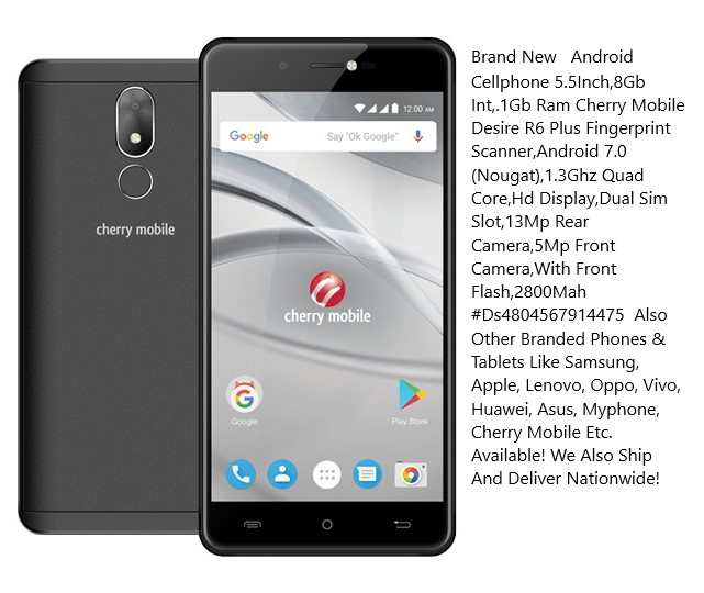 Android Cellphone 5 5Inch,8Gb Int, 1Gb Ram Cherry Mobile Desire R6 Plus  Fingerprint Scanner,Android 7 0 (Nougat),1 3Ghz Quad Core,Hd Display,Dual  Sim