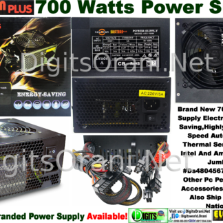 Power Supply 700 Watts Electron Plus Energy Saving,Highly Effecient,Fan  Speed Auto Control By Thermal Sensor,Supports Intel And Amd  Processors,Jumbo