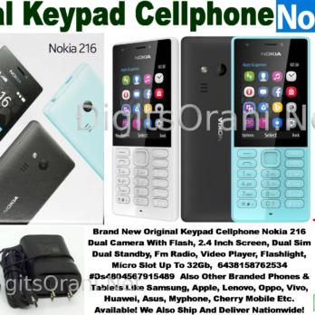 Original Keypad Cellphone Nokia 216 Dual Camera With Flash, 2.4 Inch Screen, Dual Sim Dual Standby, Fm Radio, Video Player, Flashlight, Micro Slot Up To ...