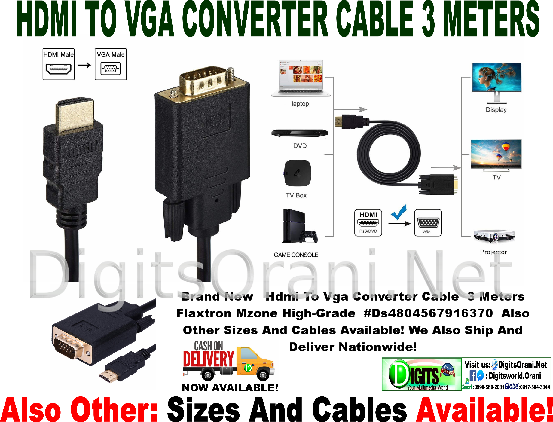 Hdmi To Vga Converter Cable 3 Meters Flaxtron Mzone High Grade Cabel Touch Zoom