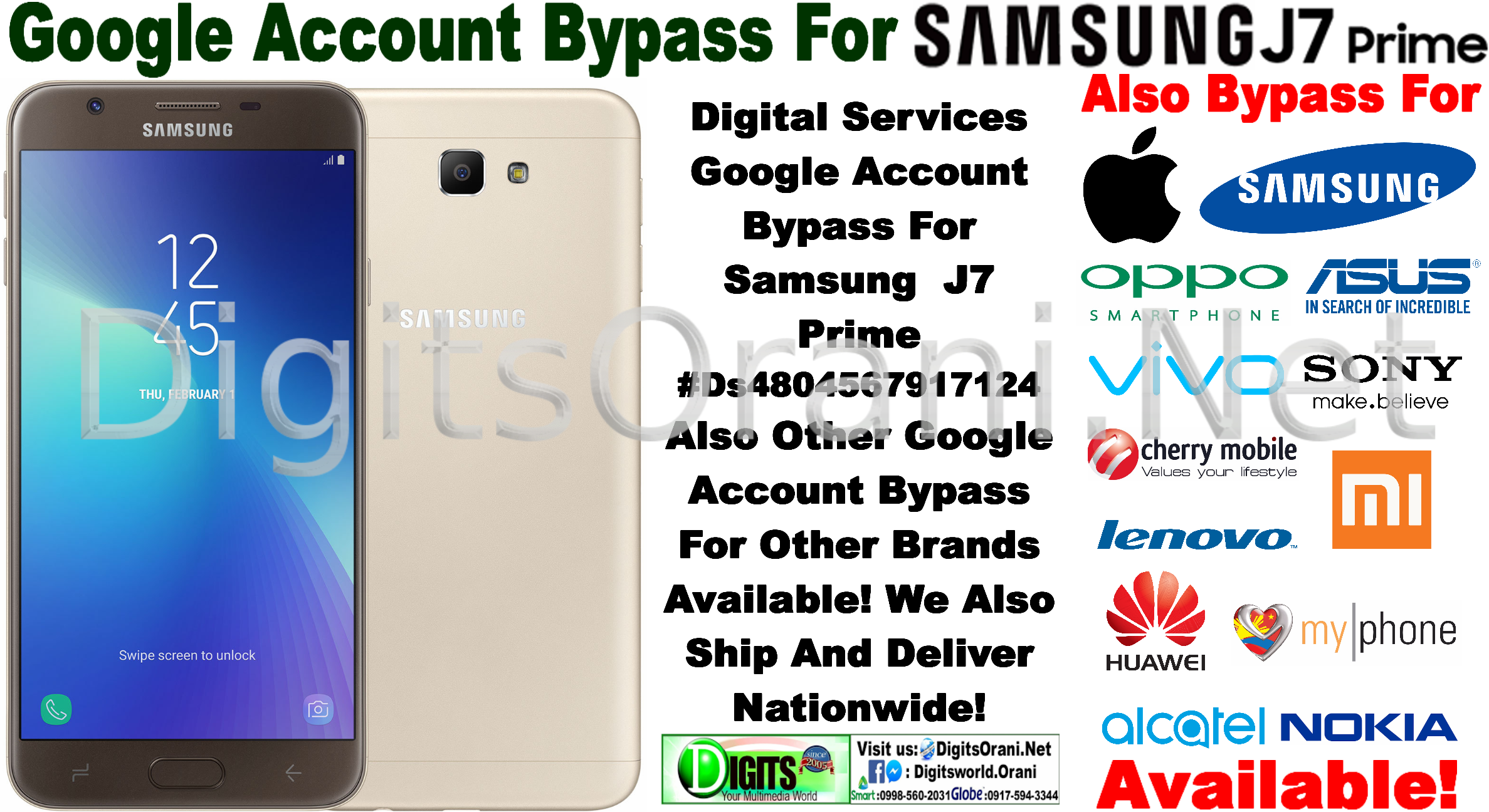 Digital Services Google Account Bypass For Samsung J7 Prime #Ds4804567917124