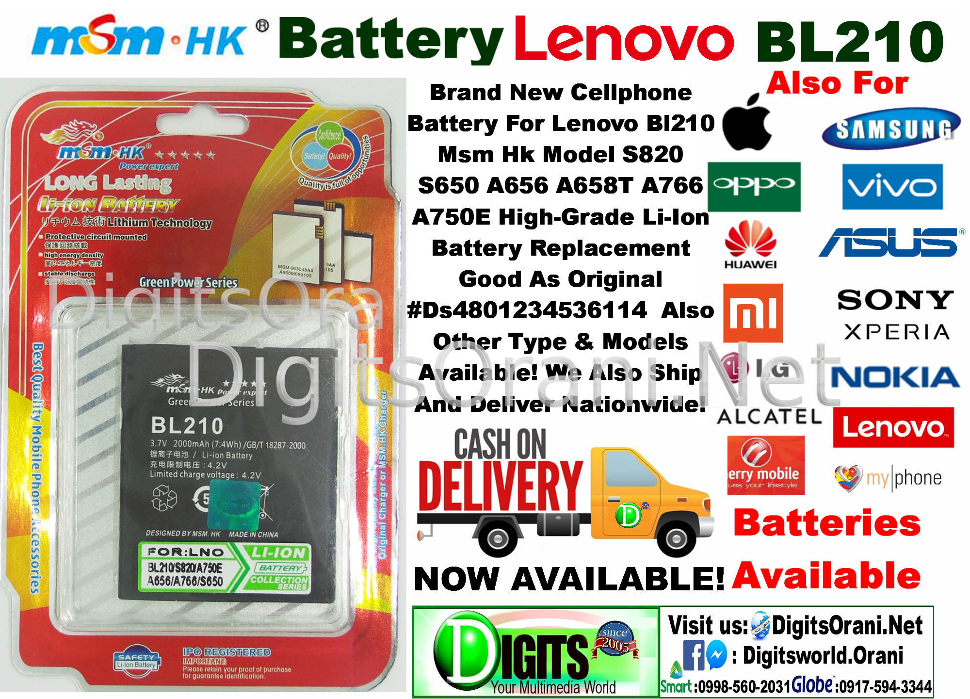 Cellphone Battery For Lenovo Bl210 Msm Hk Model S820 S650 A656 A658T A766 A750E High-Grade Li-Ion Battery Replacement Good As Original #Ds4801234536114