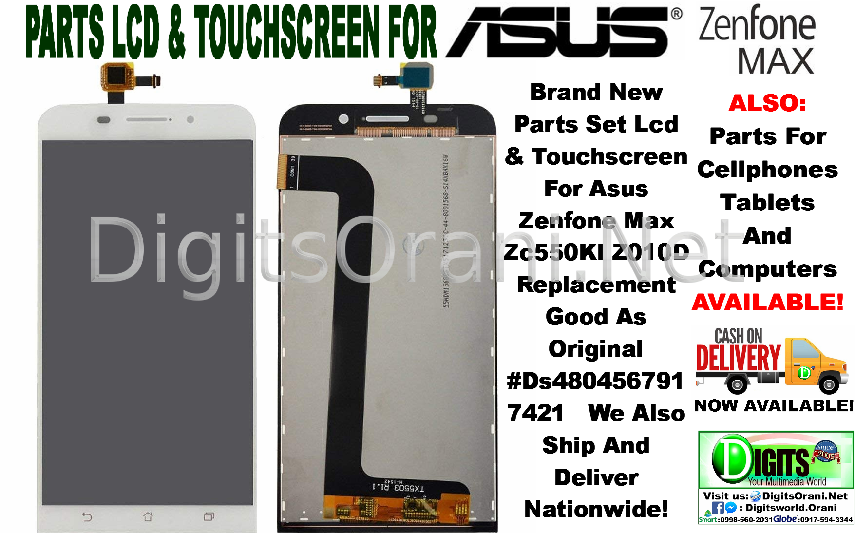 Parts Set Lcd & Touchscreen For Asus Zenfone Max Zc550Kl Z010D Replacement  Good As Original #Ds4804567917421