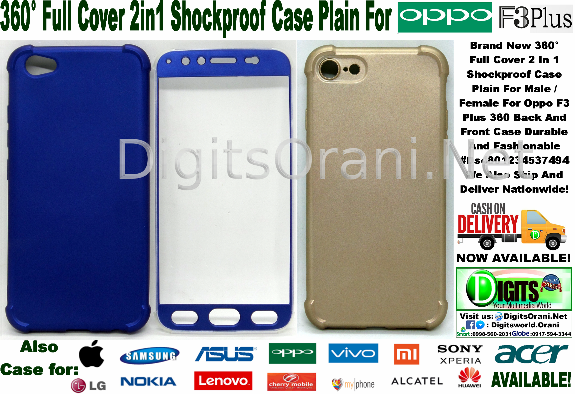 360 Full Cover 2 In 1 Shockproof Case Plain For Male Female Oppo F3 Launched India