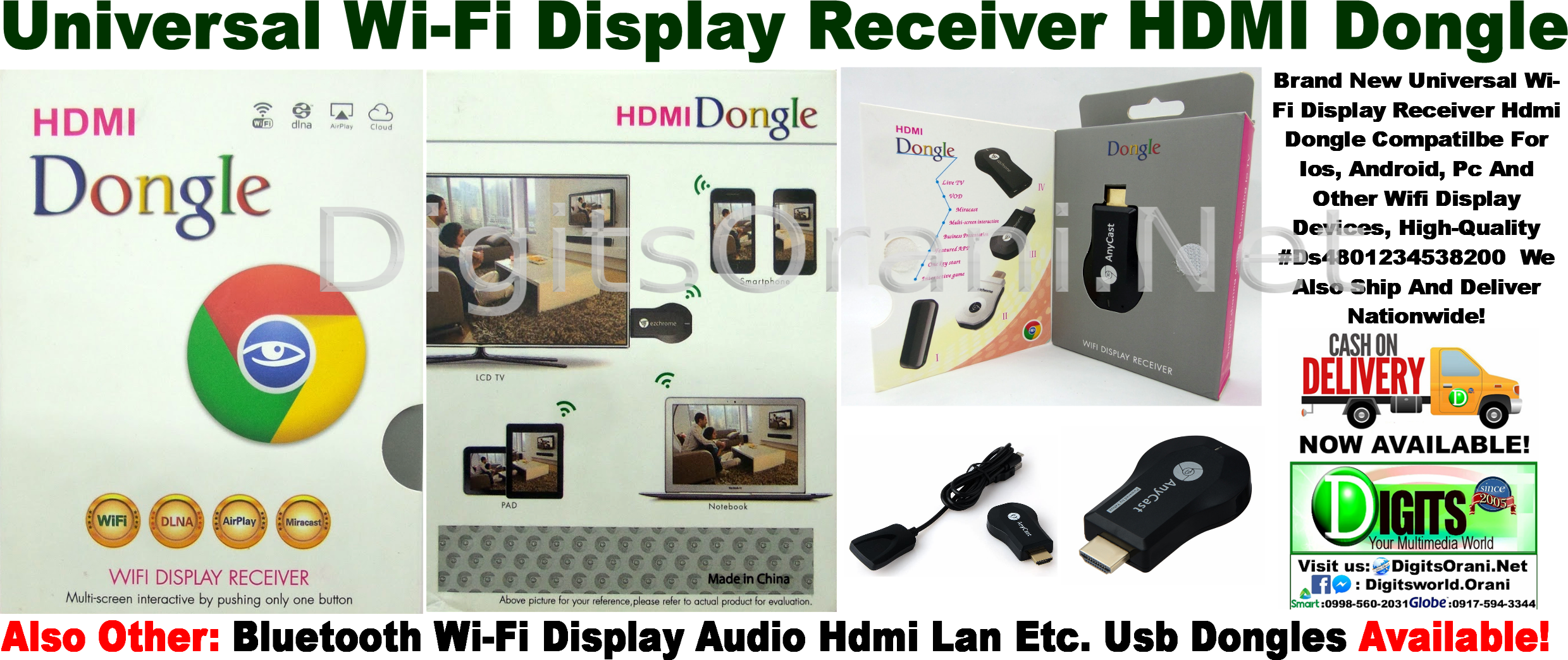 Universal Wi Fi Display Receiver Hdmi Dongle Compatilbe For Ios Anycast Wifi Touch To Zoom