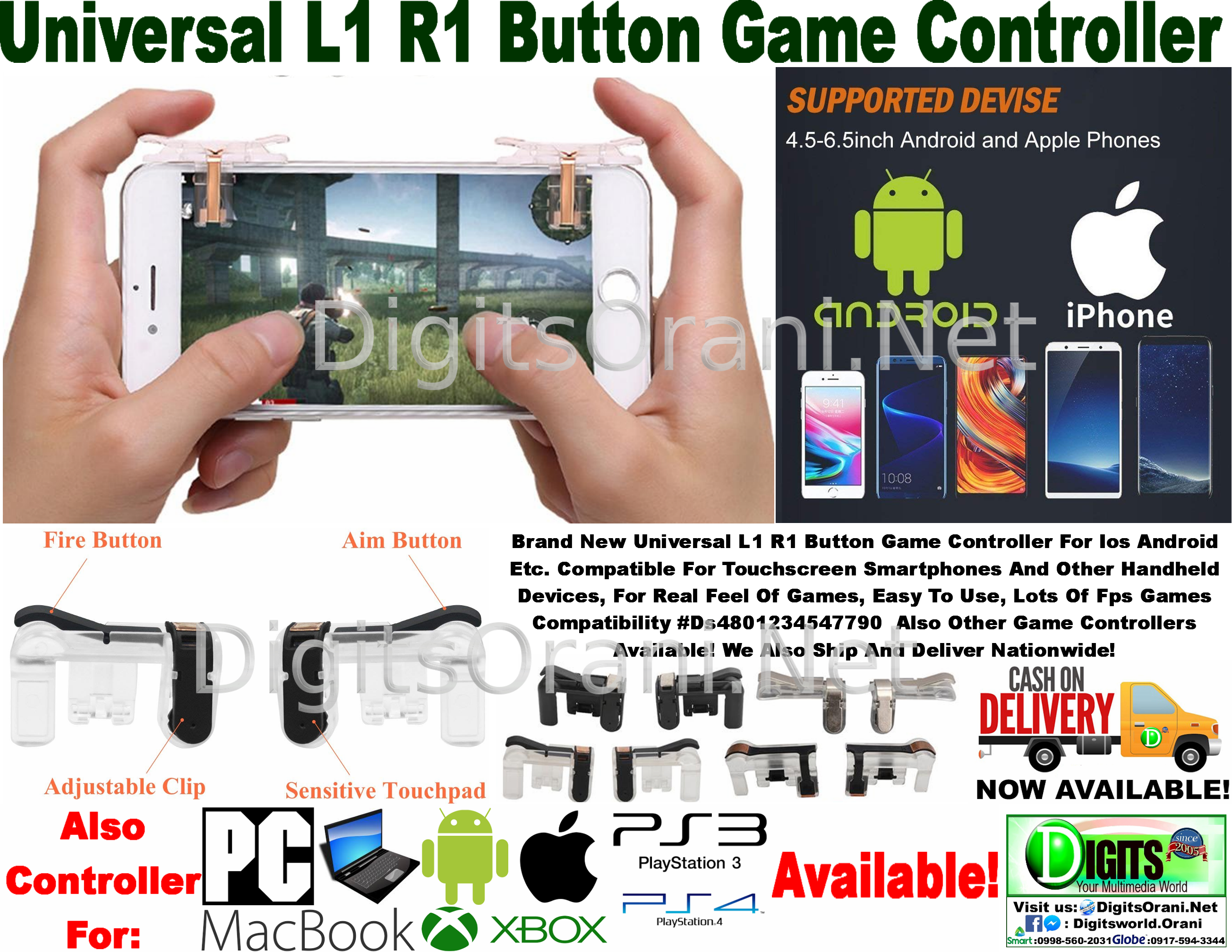 Universal L1 R1 Button Game Controller For Ios Android Etc  Compatible For  Touchscreen Smartphones And Other Handheld Devices, For Real Feel Of Games,