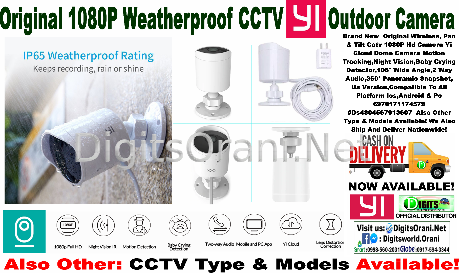 Original 1080P Weatherproof Cctv Yi Outdoor Camera Ir Night  Vision,Detterent Alarm,Yi Cloud,Two Way Talk,Mobile Access,Wifi  Connected,3M Power