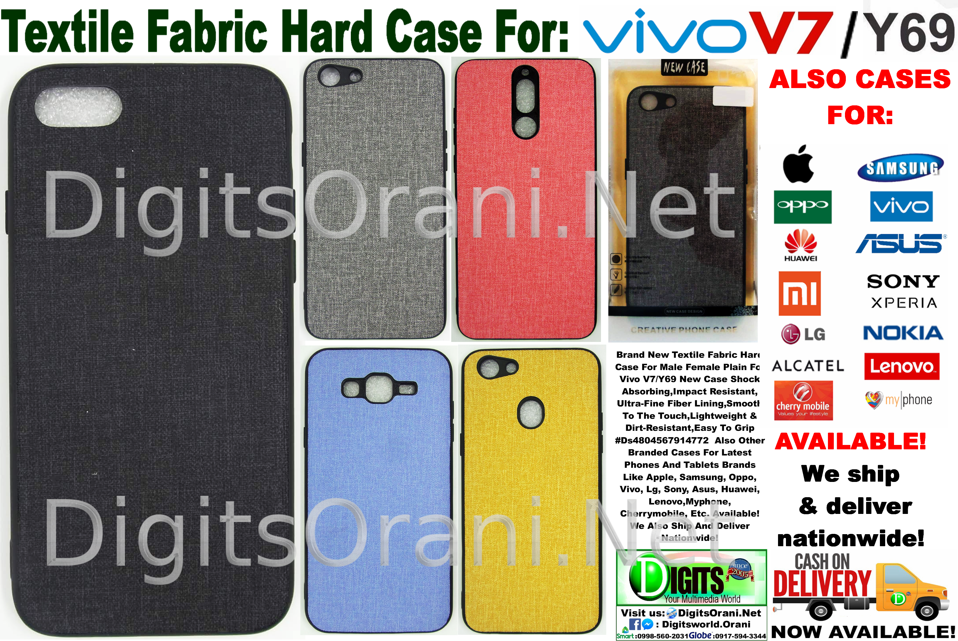 new arrival e80a4 03aea Textile Fabric Hard Case For Male Female Plain For Vivo V7/Y69 New Case  Shock Absorbing,Impact Resistant,Ultra-Fine Fiber Lining,Smooth To The ...