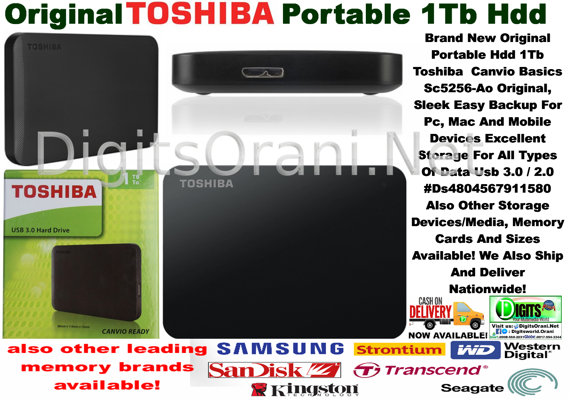 Original Portable Hdd 1Tb Toshiba Canvio Basics Sc5256-Ao Original, Sleek  Easy Backup For Pc, Mac And Mobile Devices Excellent Storage For All Types