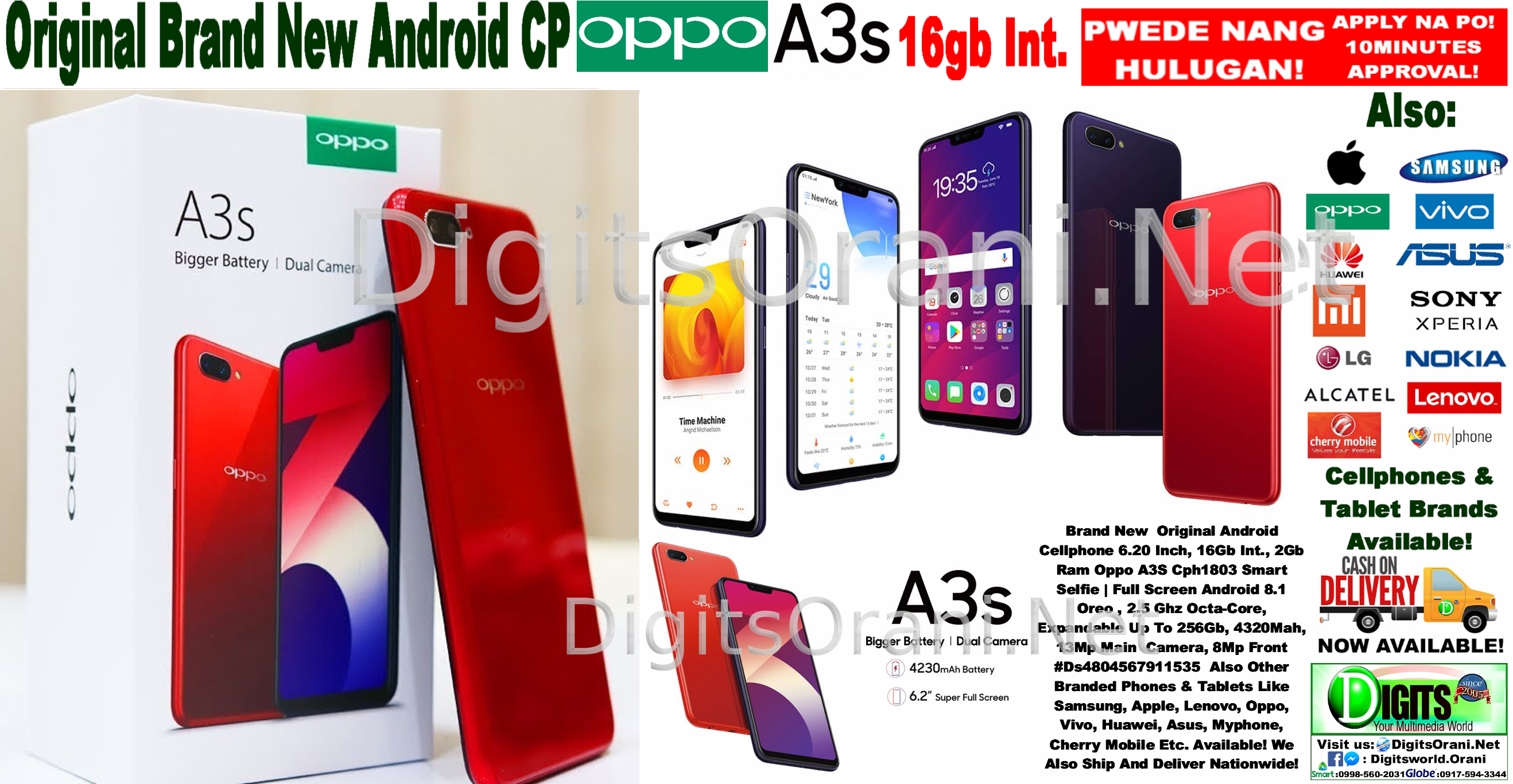 Original Android Cellphone 6 20 Inch, 16Gb Int , 2Gb Ram Oppo A3S Cph1803  Smart Selfie | Full Screen Android 8 1 Oreo , 2 5 Ghz Octa-Core, Expandable