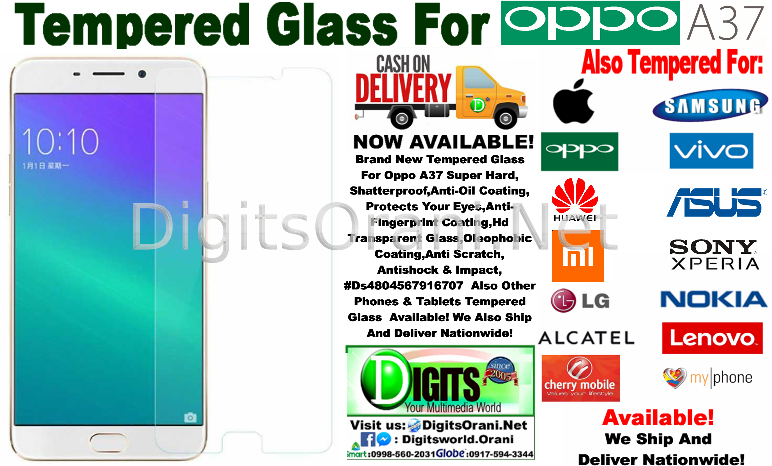 Tempered Glass For Oppo A37 Super Hard,Shatterproof,Anti-Oil  Coating,Protects Your Eyes,Anti-Fingerprint Coating,Hd Transparent  Glass,Oleophobic