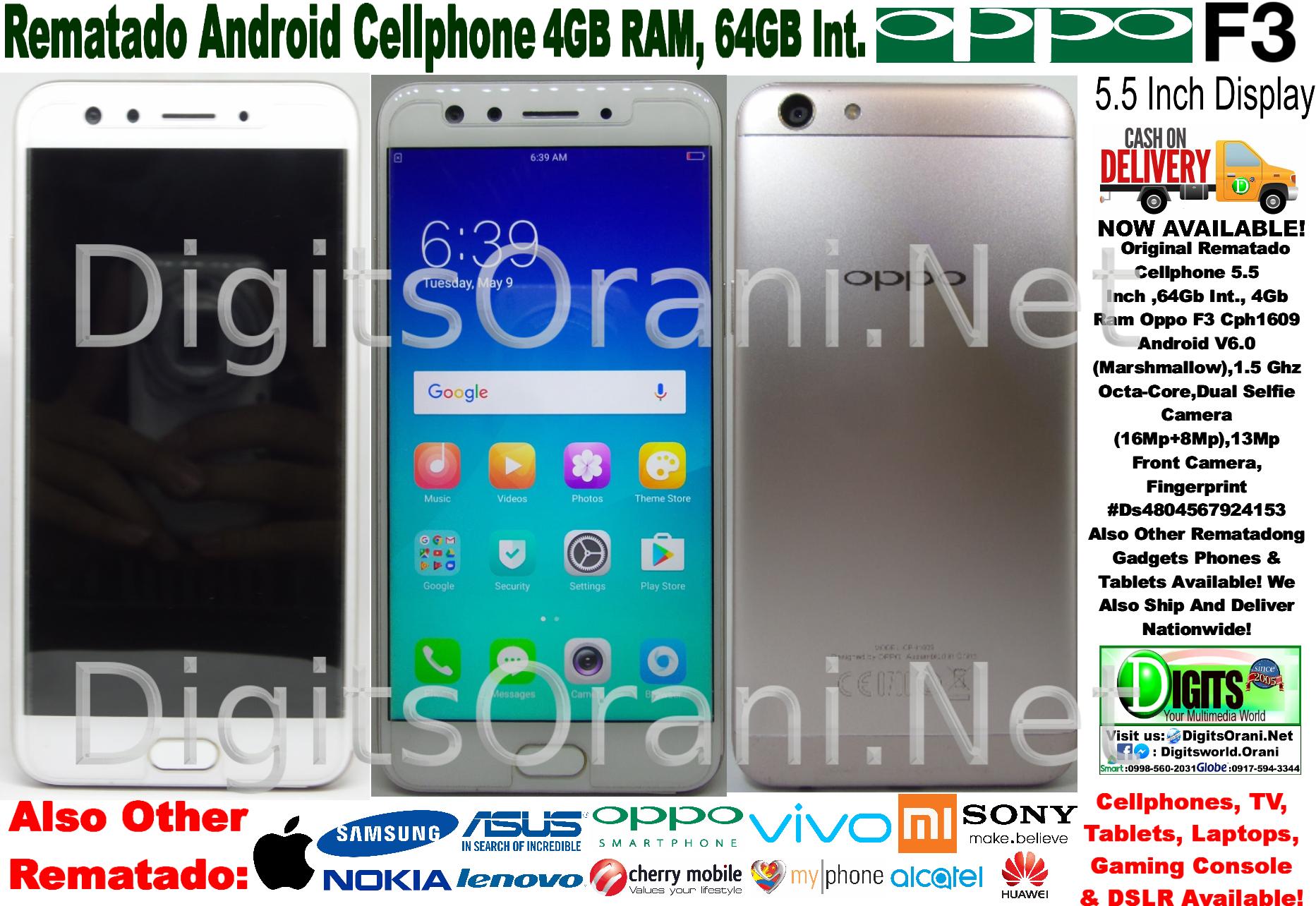 Original Rematado Cellphone 5 5 Inch ,64Gb Int , 4Gb Ram Oppo F3 Cph1609  Android V6 0(Marshmallow),1 5 Ghz Octa-Core,Dual Selfie  Camera(16Mp+8Mp),13Mp