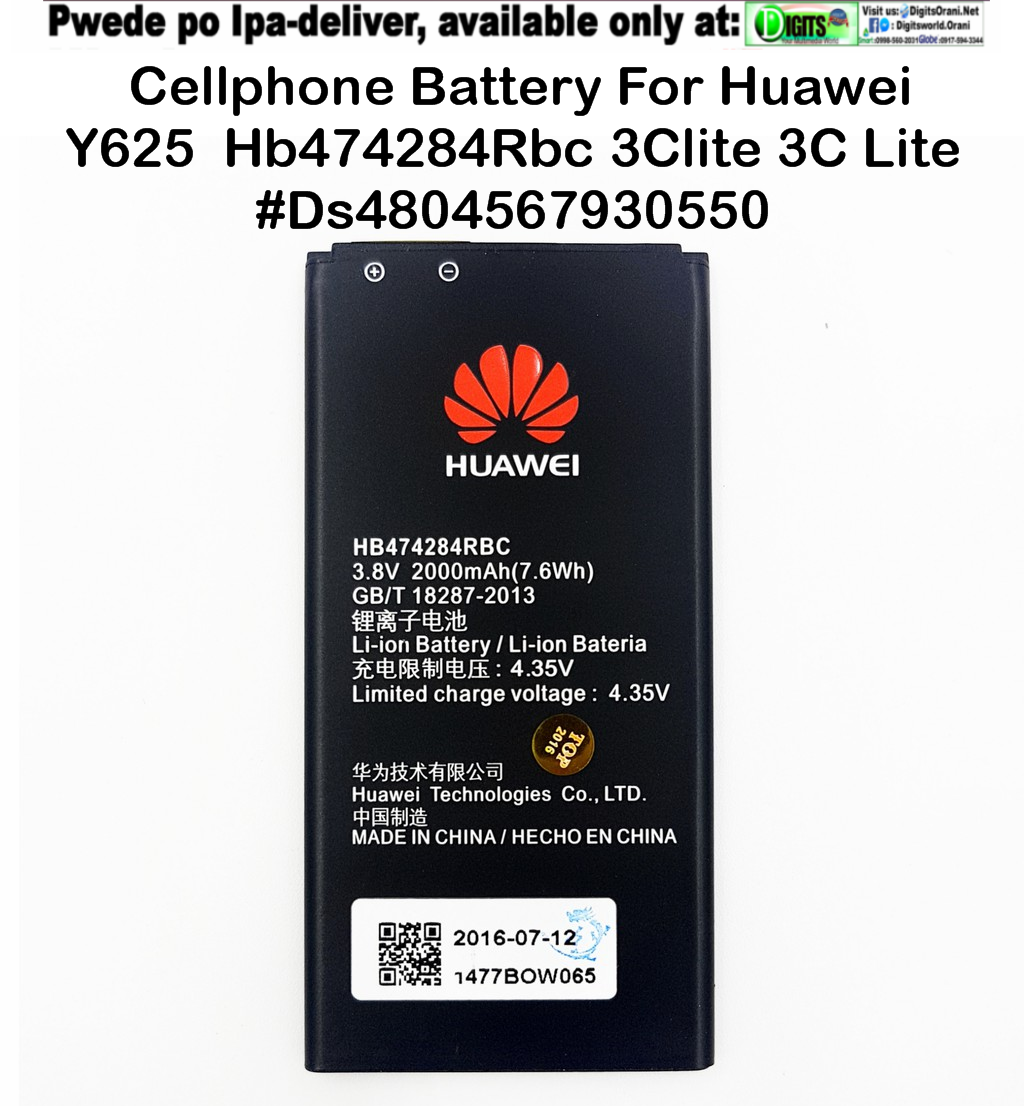 Cellphone Battery For Huawei Y625 Hb474284Rbc 3Clite 3C Lite Replacement  Good As Original #Ds4804567930550