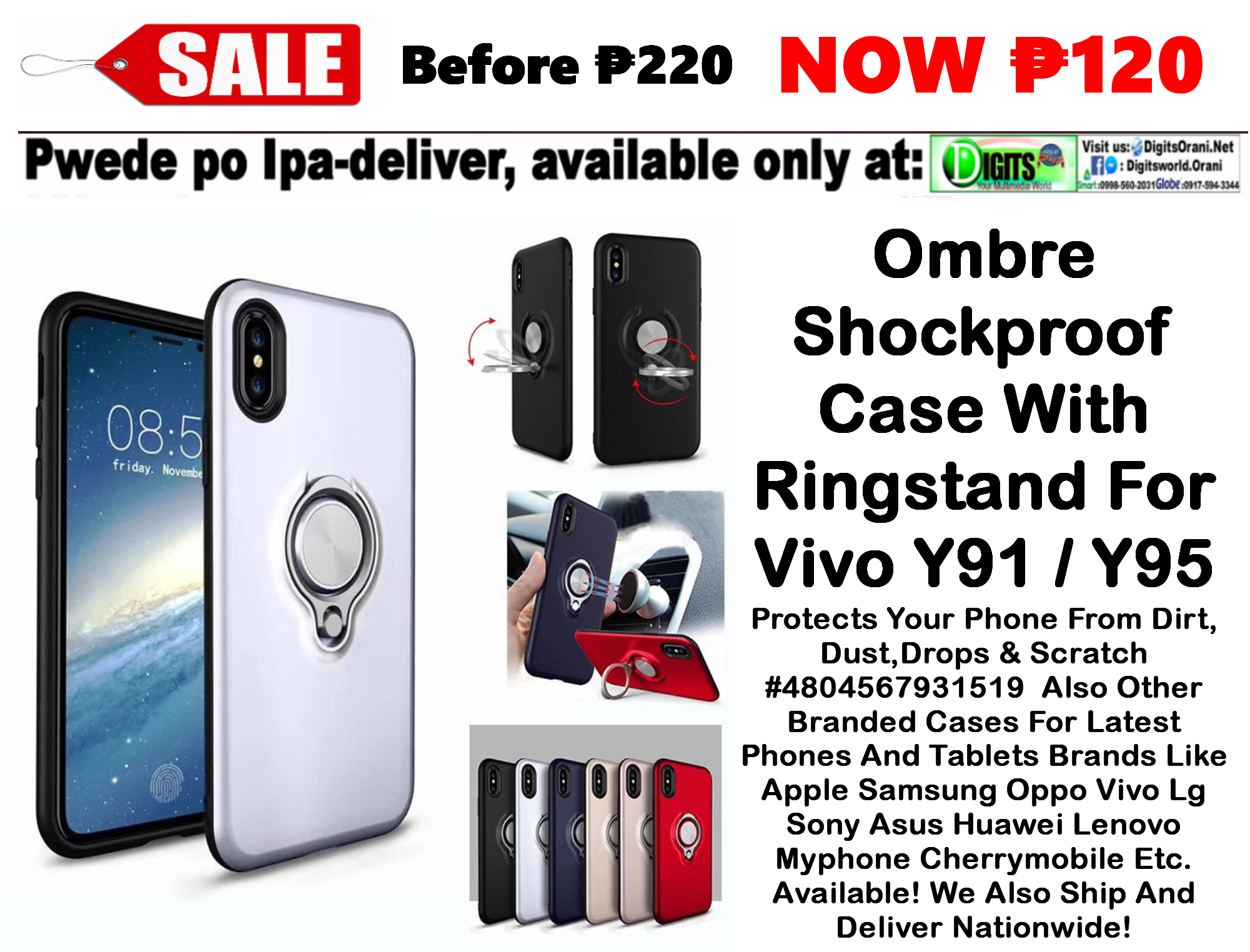 Ombre Shockproof Case With Ringstand For Male / Boy & Female For Vivo Y91 /  Y95 Protects Your Phone From Dirt,Dust,Drops & Scratch #Ds4804567931519