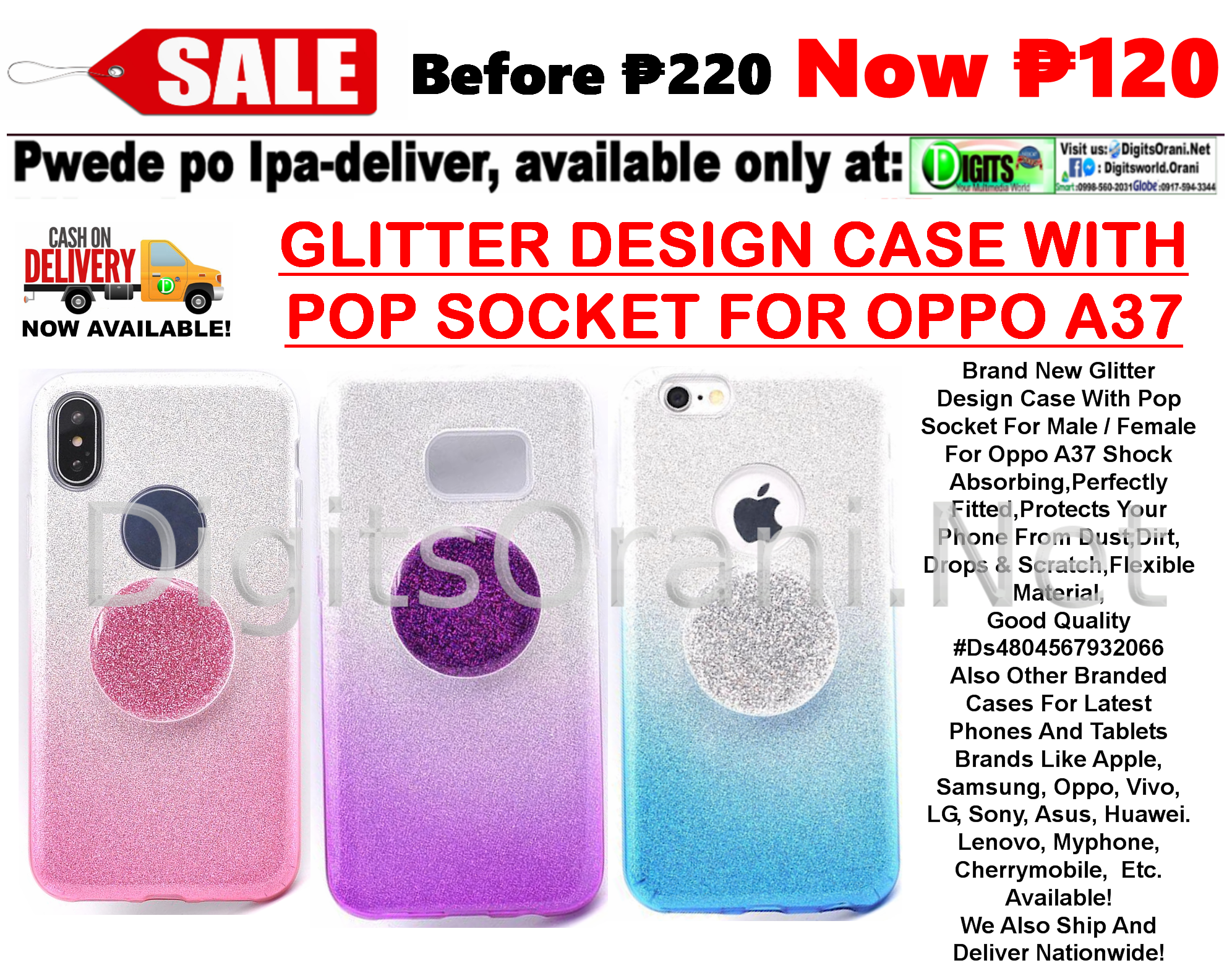 Glitter Design Case With Pop Socket For Male / Female For Oppo A37 Shock  Absorbing,Perfectly Fitted,Protects Your Phone From Dust,Dirt,Drops &