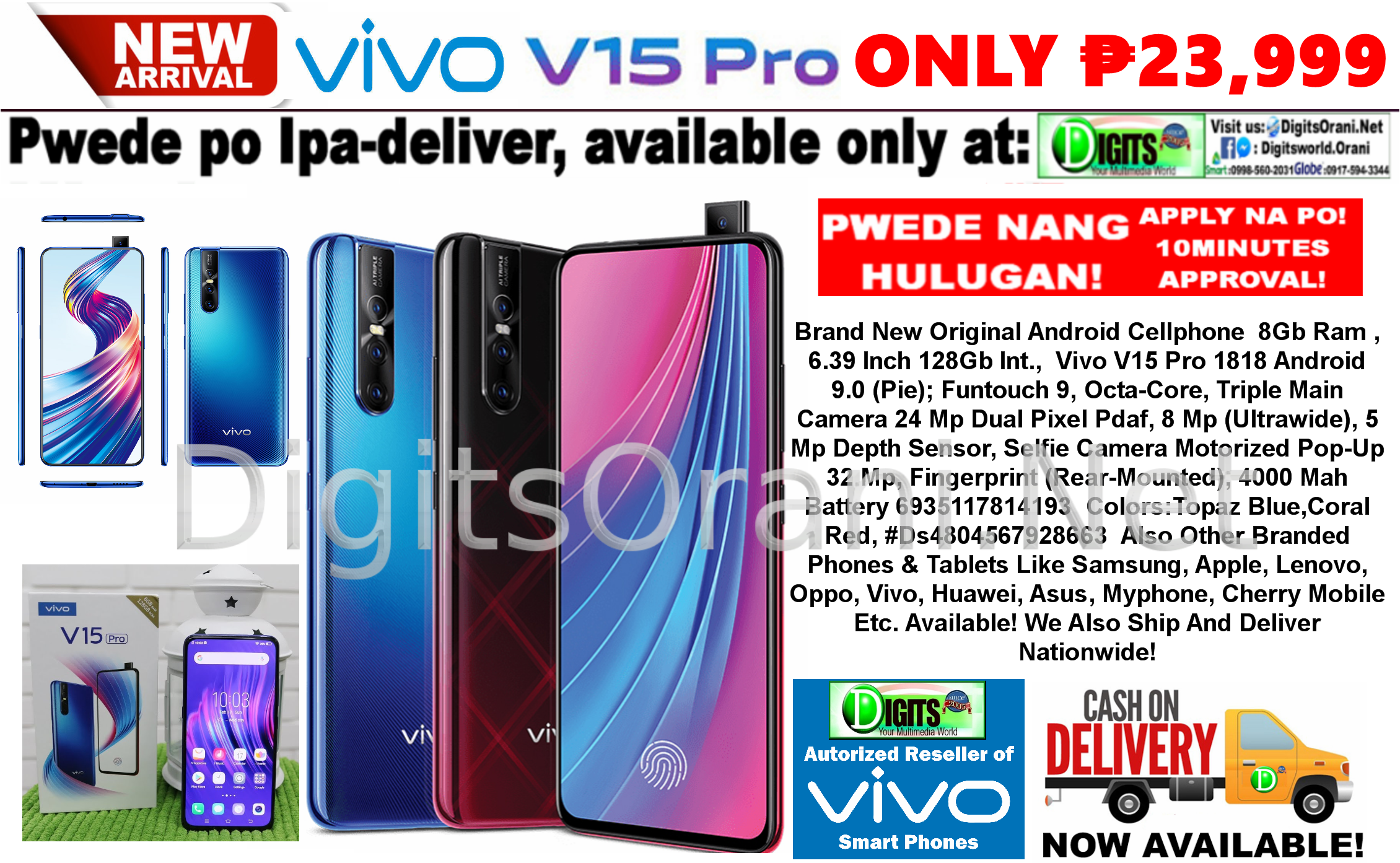 Original Android Cellphone 8Gb Ram , 6 39 Inch 128Gb Int , Vivo V15 Pro  1818 Android 9 0 (Pie)